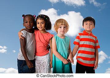 grupo, de, multiracial, crianças, retrato