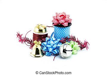 grupo, de, navidad, objetos, aislado, blanco, plano de fondo