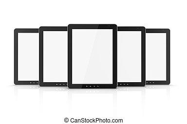 grupo, de, negro, computadora personal tableta