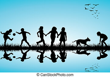 grupo de niños, y, un, perro, juego, al aire libre
