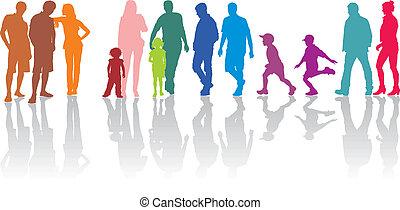 grupo, de, pais, com, crianças