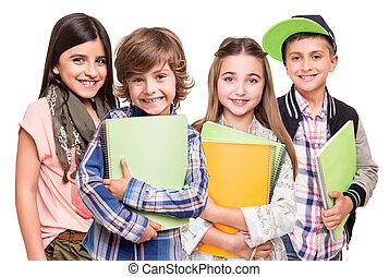 grupo, de, pequeno, estudantes
