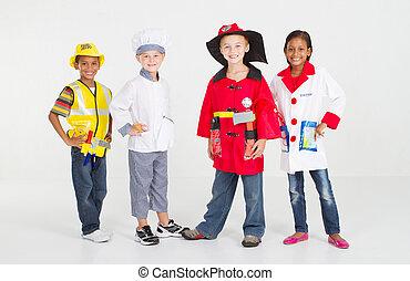 grupo, de, pequeno, trabalhadores, em, uniforme