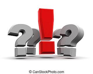 grupo, de, perguntas, e, exclamação