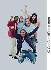 grupo de personas jóvenes, aislado, en, white.