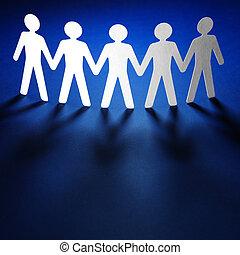 grupo, de, povos papel, segurando, hands.