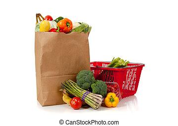 grupo, de, producto fresco, en, un, marrón, saco de la tienda de comestibles