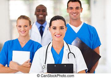 grupo, de, profissionais cuidado médico