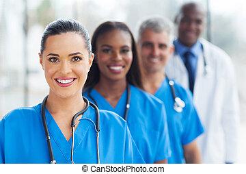 grupo, de, profissionais médicos