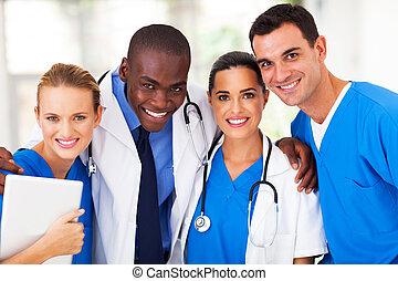 grupo, de, profissional, equipe médica
