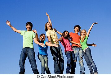 grupo, de, raça misturada, crianças