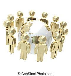 grupo, de, simbólico, pessoas, cercar, globo terra