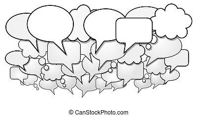 grupo, de, social, medios, charla, discurso, burbujas
