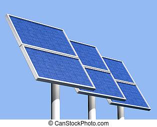 grupo, de, solar, painéis, ligado, um, claro, dia ensolarado