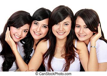 grupo, de, sonriente, adolescentes
