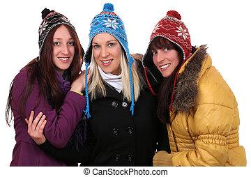 grupo, de, sorrindo, mulheres jovens, pessoas, inverno, com, luvas, e, ca