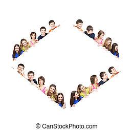 grupo, de, sorrir feliz, adolescentes