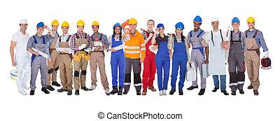 grupo, de, trabajadores construcción