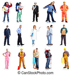grupo, de, trabajadores, gente, set.