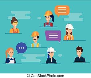 grupo, de, trabajadores, hablar, caracteres