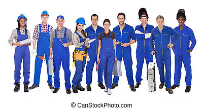 grupo, de, trabajadores industriales