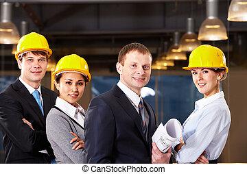 grupo, de, trabajadores