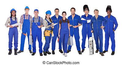 grupo, de, trabalhadores industriais