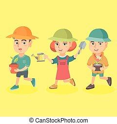 grupo, de, tres, caucásico, niños, plantación, flores