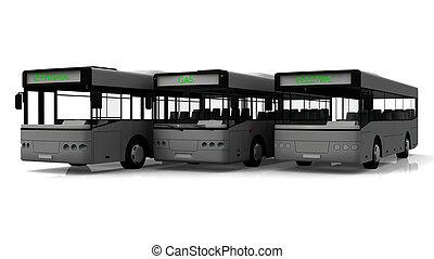 grupo, de, tres, ciudad, autobuses