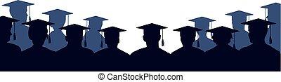 grupo, de, universidad, graduates., multitud, de, gente, de, estudiantes, en, mantos, y, cuadrado, académico, caps., escuela secundaria, graduation., audiencia, silueta, vector