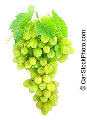 grupo, de, uva verde, aislado, blanco