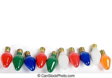 grupo, de, viejo, luces de navidad, aislado, blanco