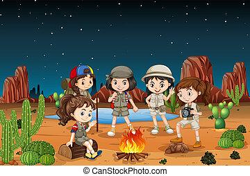grupo, deserto, acampamento, crianças