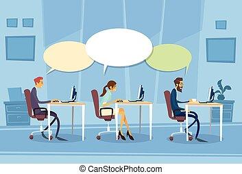 grupo, diálogo, escritório, sentando, comunicação,...