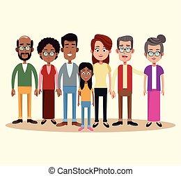 grupo, diferente, multicultural, familia