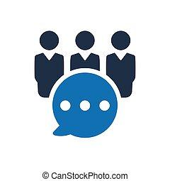 grupo discussão, negócio, ícone