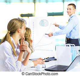 grupo, discutir, homens negócios