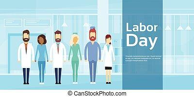 grupo, doutor, maio, médico, trabalho, equipe, feriado, dia