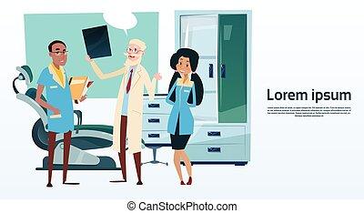 grupo, doutores hospital, medial, gabinete, equipe, interior