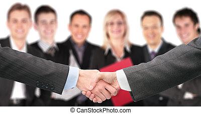 grupo, empresa / negocio, muñecas, collage, seis, foco, manos temblar, afuera