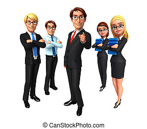 grupo, empresarios, en, oficina.