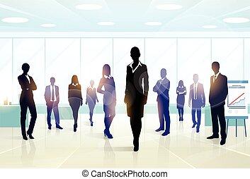 grupo, empresarios, equipo, silueta, ejecutivos