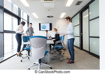 grupo, empresarios, habitación, movimiento, entrar, mancha,...