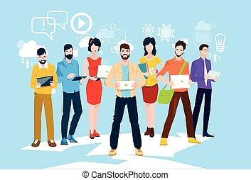 grupo, empresarios, programadores, computadora, trabajo en...