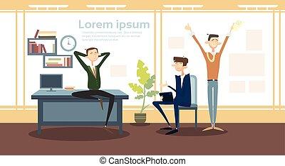 grupo, escritório, negócio, trabalhador, gerente, local trabalho, interior, homem negócios, homem