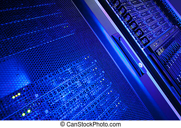 grupo, estante, centro de datos, servidor