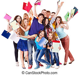 grupo, estudante, notebook.