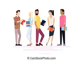 grupo, estudante, pessoas, livros, segurando, educação
