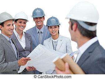 grupo, estudar, desenhos técnicos, arquitetos