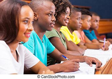 grupo, estudiantes, joven, norteamericano, colegio, africano
